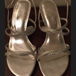 Michaelangelo Silver Rhinestone heels